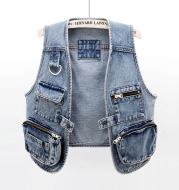 All-Match Fashion Multi-Pocket Denim Vest Women Short Vest