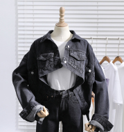 Personalized Front Short and Back Long Denim Jacket