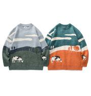 Vintage Contrast Crew Neck Sweater
