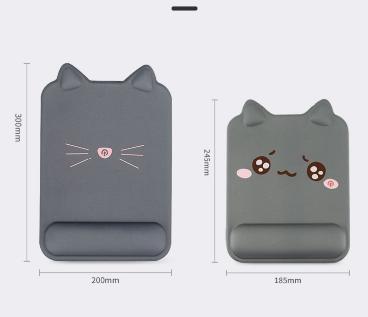 Tapis de souris chat ergonomique avec repose-poignet deux tailles
