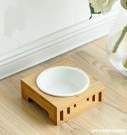 Solid Wood Frame Rice Bowl Ceramic Bowl Cat Food Bowl Pet Food Bowl