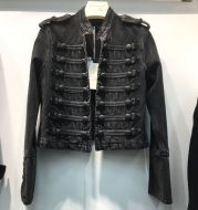 Handsome Military Sstyle Double-Breasted Button Stitching Short Denim Jacket Top