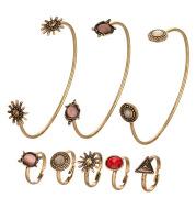 Creative Vintage Flower Joint Ring Open Bracelet Ring Set
