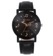 Musical Note Pattern Simple Dial Belt Quartz Watch