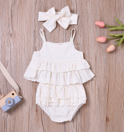 Ins Sling Top Girls Cotton And Linen Suit