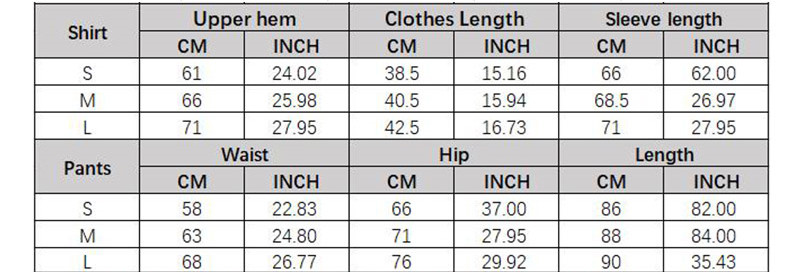 High-Elastic Slim-Fitting Moisture Wicking Sports Yoga Wear - Size Chart - JOMOBabe Online Store   Women Workout Clothes & Gym Gear   JOMOBabe