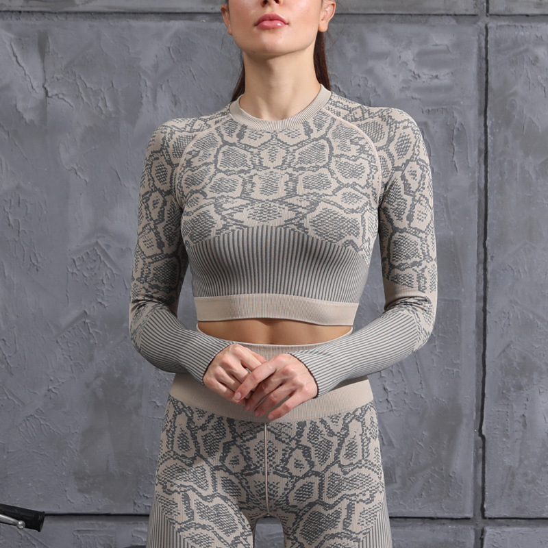 Women's Slim-Fitting Snake Pattern Yoga Set - Khaki -  JOMOBabe Online Store   Women Workout Clothes & Gym Gear   JOMOBabe