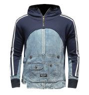 Sweater Personality High Street Trend Denim Stitching Sweater Multi-Pocket