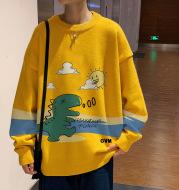 Dinosaur Print Crew Neck Sweater Men's Loose Large Size Lazy Style
