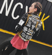 Printed Rivet Leopard Print Stitching Short Motorcycle Leather Jacket