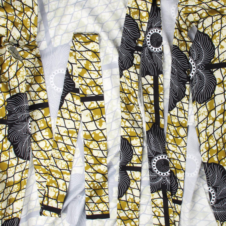 Belle Robe africain col en V avec noeud de coté