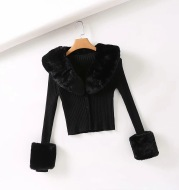 Fashionable Detachable Fur Collar Single-Breasted Short Knit Top