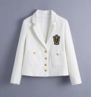 Single-Breasted Slim Slim White Casual Blazer With Pockets