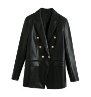 Black Faux Leather Gold Double-Breasted Long Sleeve Lapel Suit