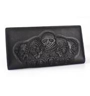 Rose Skull Punk Rock Wallet Long Men's Clutch