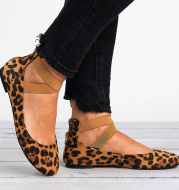 Women Spring Autumn Leopard Print Casual Fashion Soft Round Toe Solid Elastic Strap Flat Shoes