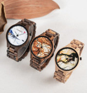 Wooden Watch Young Men's Ethnic Style And Landscape Painting Wooden Quartz Watch