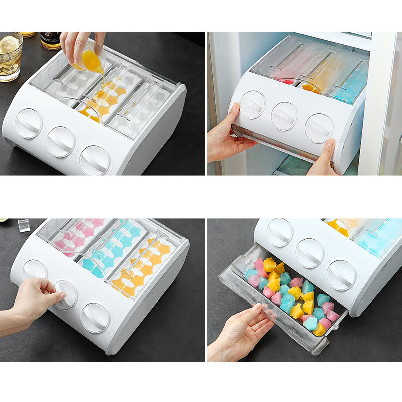 Refrigerator Storage Drawer 30 Grid Small Ice Cube Mould Box Popsicle Molds Maker Tray Juice Making DIY Bar Kitchen Accessories