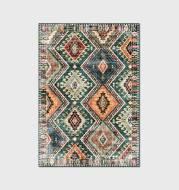 Fashion Green Rhombus Stitching Ethnic Style Living Room Carpet