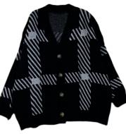 Retro Plaid Sweater Cardigan Women s Jacket