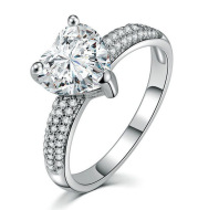 Heart-shaped Zircon Ring White Gold-plated Heart-shaped Diamond Ring