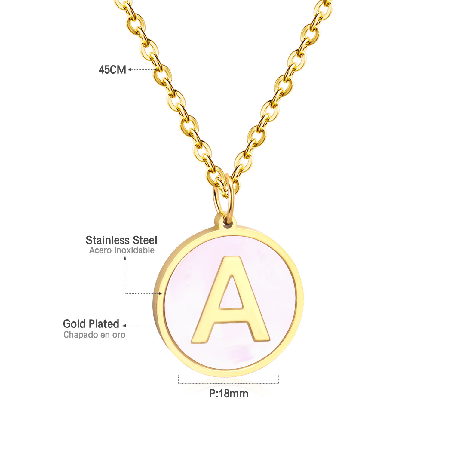 Stainless Initial Necklace