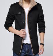 Slim-Fit Plus Velvet Men's Coat Korean Men's Windbreaker Lamb Wool Men's Woolen Cloth