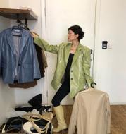 Crocodile Pattern Casual Leather Loose Suit Jacket