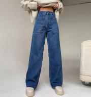 High Waist Bag Hip Wide Leg Casual Pants Trend Patch Pocket Straight-Leg Jeans