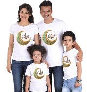 Parent-child short-sleeved T-shirt Eid Mubarak moon print