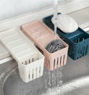 Sink Suction Cup Rack Cleaning Brush Rack Drain Kitchen Non-Perforated Sponge Spoon Soap Storage Rack