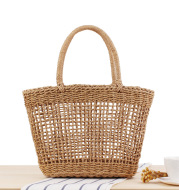 Hand-held New Hollow Woven Holiday Outing Straw Bag
