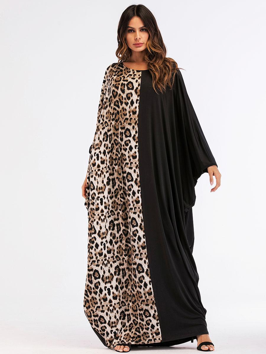Leopard Knit Bat Sleeve Dress Muslim Robe Ramadan