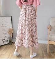 Floral Half-Length Skirt Female Spring And Summer New Mid-Length Skirt, High Waist, Thin Temperament, A-Line Skirt, Long Chiffon Skirt, Small Fresh And Trendy