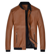 Men's Stand-Up Collar Leather Jacket Coat Motorcycle Men's Casual Leather Jacket