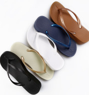 Thick-Soled Seaside Beach Shoes Simple High-Heeled Sandals And Slippers