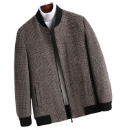 Casual Young British School Overcoming Plaid Woolen Jacket