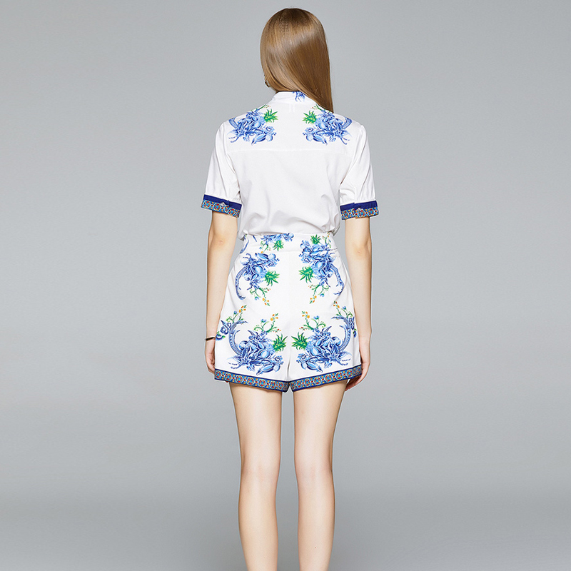 Summer Shirt Shorts Hong Kong Style Two-Piece Suit