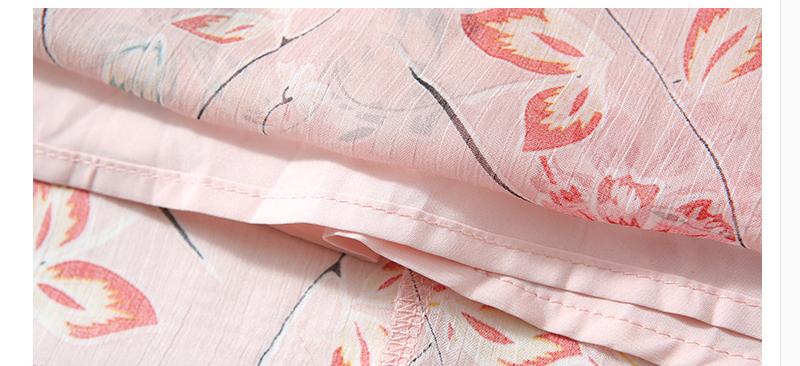 Short-Sleeved Pink Printed Chiffon Dress