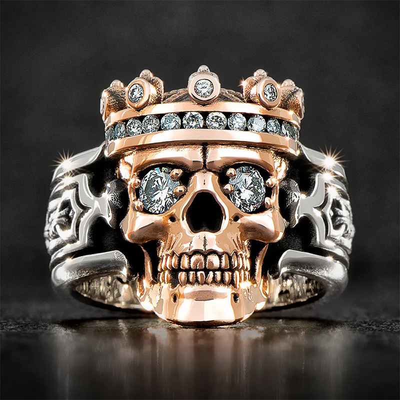 Jewelry European and American Style Crown Skull Temperament Male Ring