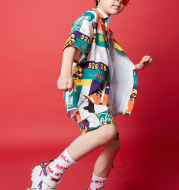 Fashion Printed Children's Short Sleeve Suit