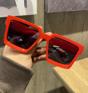 Korean Style Trendy Personality Hip-Hop Style Red Big Frame Sunglasses