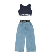 Girls' Summer Thin Jeans Suits For Older Children And Girls