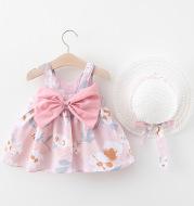 Women's Treasure Skirt Korean Version Treasure Printed Baby Shirt Sling Dress Bowknot Free Hat