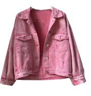 Golden Autumn Women's Dress Lapel Back Cartoon Character Print Loose Smudged Hole Short Denim Jacket