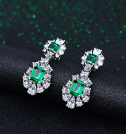 High Carbon Diamond Green Diamond Temperament High-End Earrings