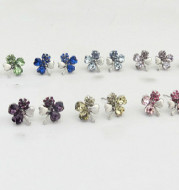 Promote Crystal Jewelry Wholesale Crystal Stud Earrings-Find Happy Sweet Clover 9554-50
