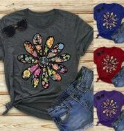 Sunflower Ladies T-shirt Art Print Short Sleeve