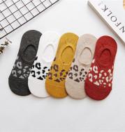 Spring And Summer Silicone Non-Slip Leopard Print Invisible Socks