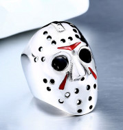Cute Skull Painted Red Oil Ring